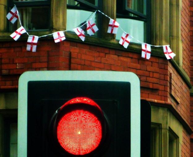 Stop sign and England bunting copyright Bernard Young
