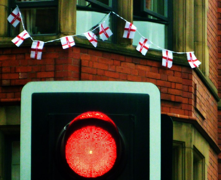 Stop sign and England bunting copyright Bernard Young