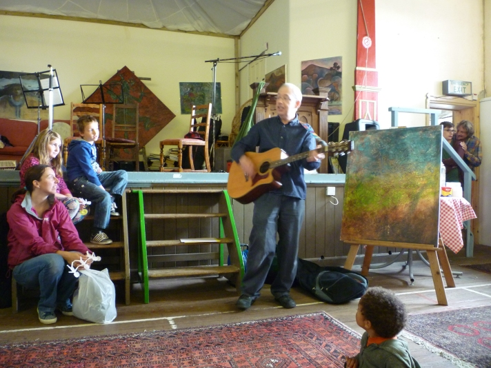 Playing guitar as part of St Johns Hall Gallery Open Day