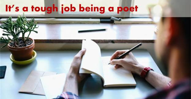 Man at desk with title text It's a tough job being a poet