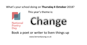 National Poetry Day 4 October Change bernardyoung.co.uk