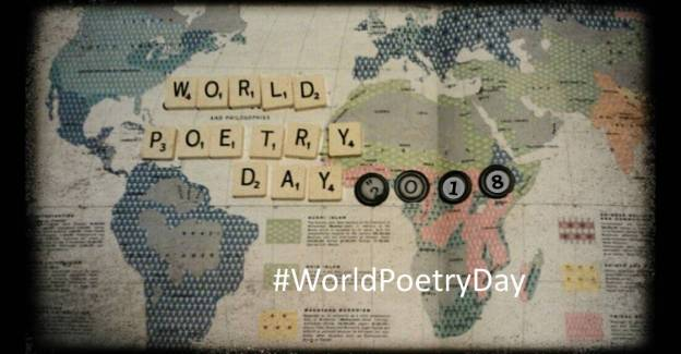 Map of world with scrabble letters saying World Poetry Day