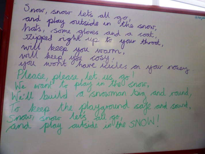 Snow poem on white board