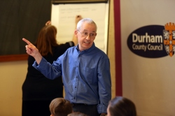 Bernard Young leading a poetry workshop at JRSO event Durham 2018