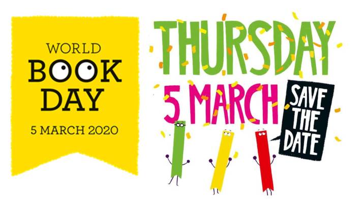 Image with words World Book Day Thursday 5 March Save the date